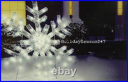 Giant White SnowFlake Holiday Christmas Light Show Motion Hanging Yard Lightshow