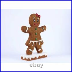 Gingerbread Girl Figurine Oversized Lawn Outdoor Holiday Figure Decor Resin