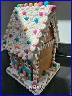 Gisela Graham Large Polydough Led Sweet Gingerbread House Christmas Decoration