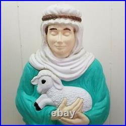 Grand Ventures Shepherd Blow Mold Holding Lamb NO LIGHT Nativity Yard Decor