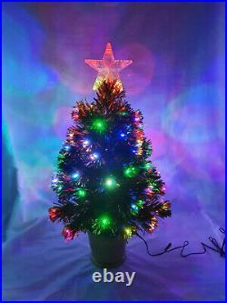 Green Fibre Optic Christmas Tree Multi Colour LED Lights 2ft 3ft 4ft 5ft 6ft 7ft