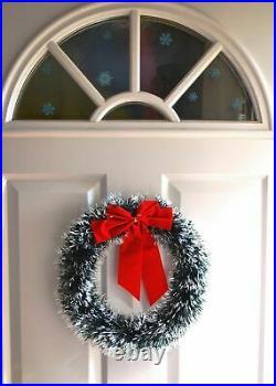Green Snowy Tinsel Christmas Wreath Xmas Home Party Door Wall Garland Ornaments