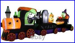 HALLOWEEN 11 Ft BLACK CAT PUMPKIN witch TRAIN Airblown Lighted Inflatable