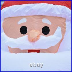 HOMCOM 2.4m Lighted Christmas Inflatable Santa Claus Gift Bag Yard Decoration