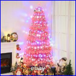 HOMCOM 7FT Artificial Tree Multi-Colored Pre-Lit Holiday Christmas Decoration