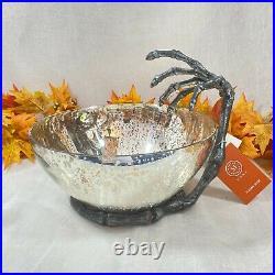HUGE Martha Stewart Halloween Silver Mercury Bowl On Metal Skeleton Hand