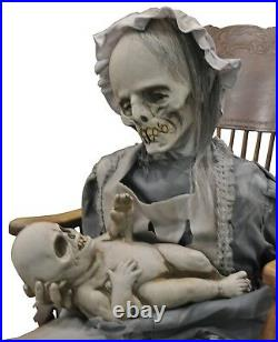 Halloween Animated LifeSize Realistic Rocking Ghost Mom Baby Lullaby Horror Prop