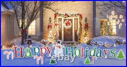 Happy Holidays Yard Sign Decoration Holiday Christmas Outdoor XMAS Lawn Outside