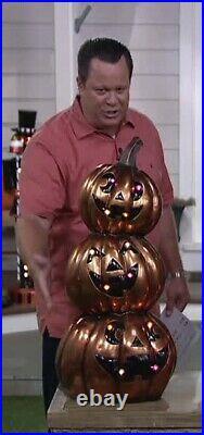 Hay & Harvest QVC Led Halloween 33.5 Lighted Jack-O-Lantern Pumpkin Stack