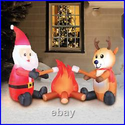 Holiday Christmas Yard Inflatable Campfire Santa and Reindeer Blow-Up Light Up