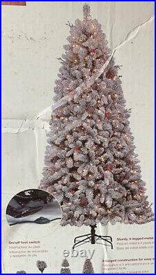 Holiday Living 7.5' Pre-lit Preston Frost Flocked Pine Tree White Christmas
