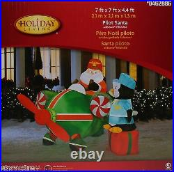 Holiday Living Pilot Santa & Penguin Airblown Inflatable 7 x7 x 4.4 ft NIB
