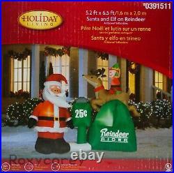 Holiday Living Santa & Elf on Reindeer Rider Airblown Inflatable 5 ft X 6 ft NIB