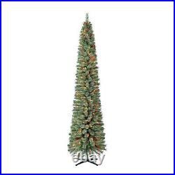 Home Heritage 9 Foot Pre-Lit Stanley Pencil Christmas Tree with Stand (Open Box)