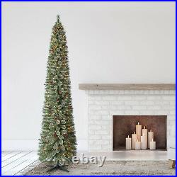 Home Heritage 9 Ft Pre-Lit Stanley Pencil Christmas Tree with Stand (Open Box)