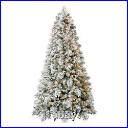 Home Heritage Flocked 7.5 Foot Christmas Tree with Lights and Pinecone (Open Box)