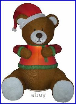 Huge 101 Christmas AIRBLOWN plush fuzzy teddy bear with santa hat INFLATABLE Yard