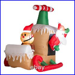 Inflatable Santa Claus Sleigh LED Lighted Airblown Christmas Yard Decoration NEW