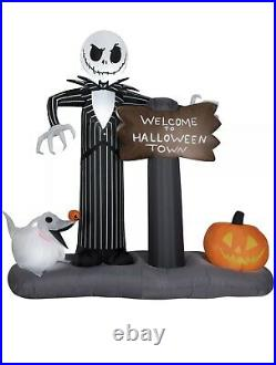 Jack Skellington & Zero Welcome To Halloween Town Inflatable By Gemmy