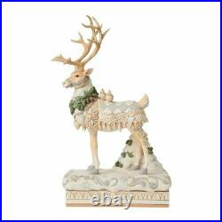 Jim Shore HWC White Woodland Reindeer Centerpiece 6008870