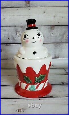 Johanna Parker Carnival Cottage Snowman Canister VHTF
