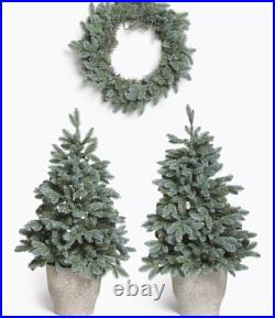 John Lewis Pair Potted Pre-Lit Christmas Trees & Wreath (faulty lights on one)