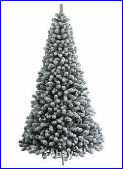KING OF CHRISTMAS 6.5 Foot 44 Inches Wide Christmas Tree Pre-lit Flocked