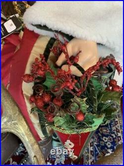 Katherine´s Collection Weihnachtsmann Santa Lebensgroß Rot Gold Samt 175cm NEU