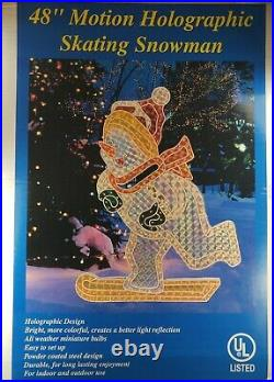 LARGE 48 Holographic Lighted Snowman Outdoor Display VTG Christmas Decor
