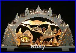 LED 3D-Schwibbogen Weihnachtsmarkt Seiffen mit Grillhütte Erzgebirge Fachhandel
