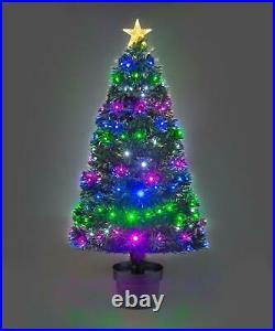LED Fibre Optic Christmas Tree Remote Controlled Pre-lit Xmas Decorations Decor