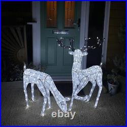 LED Rentier Hirsch 1,2m Reh 61cm Deko Weihnachten Garten Außen beleuchtet Advent
