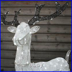 LED Rentier Hirsch Weihnachtsdeko Außen Weihnachten beleuchtet Timer Advent 1,2m