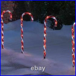 Large82cm tall Indoor/Outdoor Red Candy Cane Christmas Xmas Path Lights Set of 4
