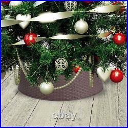 Large Brown Plastic Rattan Design Christmas Tree Skirt Stand Cover 65cm x 20cm