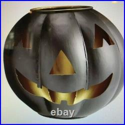Large Pottery Barn Metal Jack O' Lantern Pumpkin Candle Holder Halloween