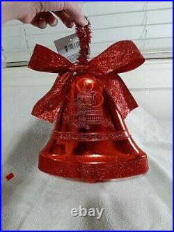Large Red Plastic Hanging Christmas Bell Decor, GlitteryBrand New-13 total