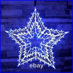 Led Blue & White Star Silhouette Window Light Xmas Window Decoration Lights