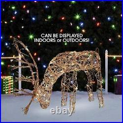 Led Lighted Reindeer Family Sculpture Deer Buck Doe Outdoor Christmas Yard decor