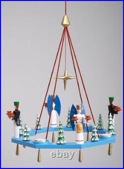 Lichterkranz Adventskranz blau + Engel und Bergmann BxT = 38x38cm NEU Leuchter