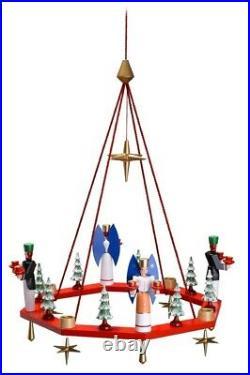 Lichterkranz Adventskranz rot mit Engel und Bergmann BxT = 38x38cm NEU Leuchter