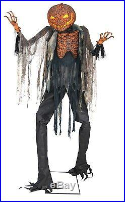 LifeSize Animated SCORCHED PUMPKIN HEAD SCARECROW Halloween Haunted House Prop