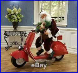 Life-Size Christmas Outdoor Santa Claus Riding Moped Scooter Christmas Decor