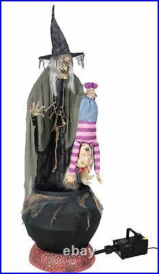 Life Size STEW BREW WITCH with KID Animated Halloween Prop Decor-FREE FOG MACHINE