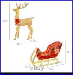 Lighted Christmas Reindeer & Sleigh Outdoor Decor Set with LED Lights