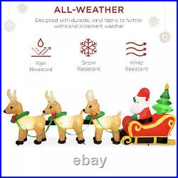 Lighted Inflatable Santa Claus and Reindeer Outdoor Christmas Decoration 9ft
