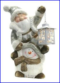 Lightup Christmas Ornament Santa Snowman LED Lantern Xmas Festive Figurine