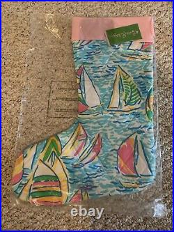 Lilly Pulitzer Christmas Stocking You Gotta Regatta Sailboat Nautical Pattern