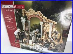 Living Home Deluxe 14 Piece Nativity Set with Creche Christmas Decorations RARE