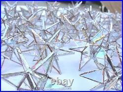 Lot of 100! Stained Glass Moravian STARS Iridescent CLEAR Suncatcher Ornament